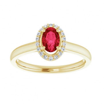 14K Yellow Gold 6x4 mm Ruby Oval Halo-Style Engagement Ring