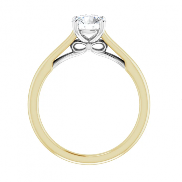 14K Yellow & White 6 mm Round Solitaire Engagement Ring