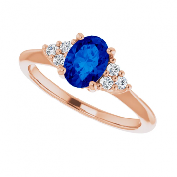14K Rose Gold 7x5 mm Oval Sapphire Engagement Ring