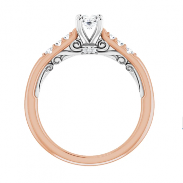 14K Rose & White Gold 6x4mm Oval Engagement Ring
