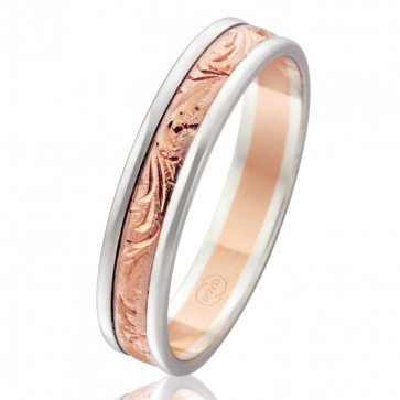 18k 2-Tone Hand Engraved Wedding Ring