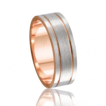 18k 2-Tone Faceted Wedding Band