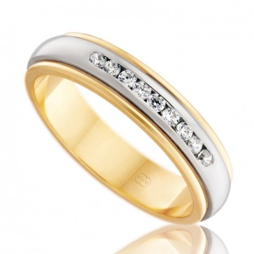 18k 2-Tone Diamond Wedding Ring