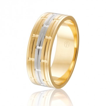 18k 2-Tone Mens Wedding Ring - Ezi Fit