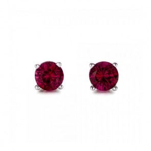 925 Created Ruby Earrings