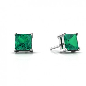 925 Created Emerald Earrings