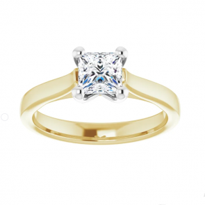 14K Yellow & White Gold One Carat Square Brilliant Engagement Ring