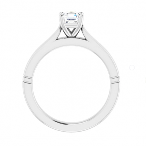 14K White Gold 5 mm Asscher Solitaire Engagement Ring