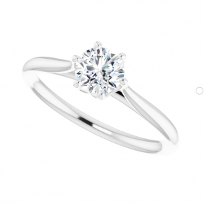 14K White Gold 5mm Round Engagement Ring