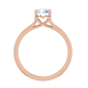 14K Rose Gold One Carat Round Solitaire Engagement Ring