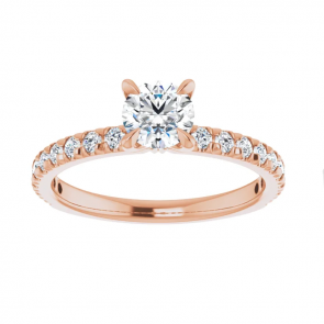 14K Rose Gold Half Carat Round French-Set Engagement Ring