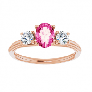 14k Rose Gold 7 x 5 Oval Pink Sapphire Three-Stone Engagement Ring