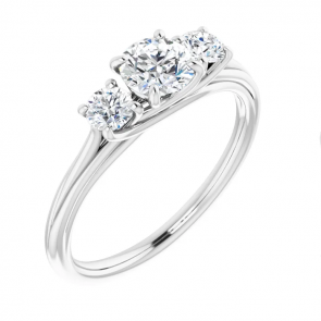 14k White Gold Three-Stone Engagement Ring