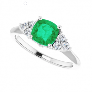 14K White Gold 6 x 6mm Cushion Emerald Engagement Ring