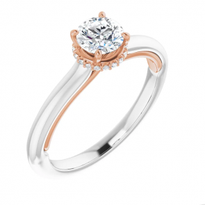 14K White & Rose Gold Half Carat Round Engagement Ring