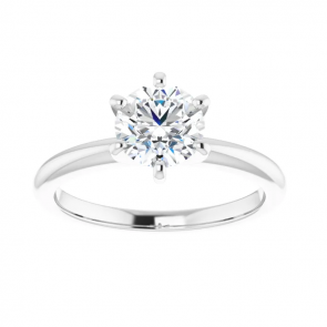 14K White 6.5 mm Round Solitaire Engagement Ring