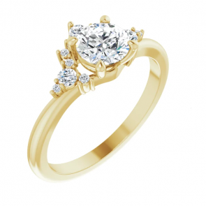 14K Yellow 5.5 mm Round Halo-Style Engagement Ring