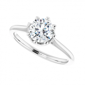 14K White Gold One Carat Round Solitaire Engagement Ring