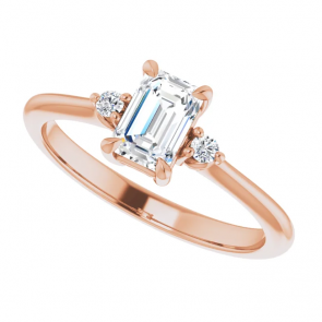 14k Rose Gold 6 x 4 Emerald Cut Three-Stone Engagement Ring