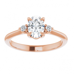 14k Rose Gold 7 x 5 Oval Three-Stone Engagement Ring