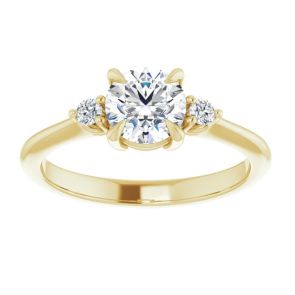 14k Yellow Gold 6mm Round Three-Stone Engagement Ring