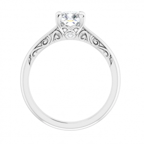 14K White 6 mm Cushion Engagement Ring