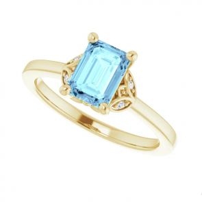 14k Yellow Gold 7 x 5 Aquamarine Three-Stone Ring