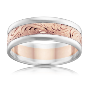 9k 2-Tone Hand Engraved Wedding Ring