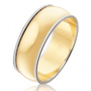 9K 2-Tone Mens Wedding Ring - Ezi Fit