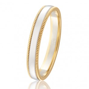9k Two Tone Faceted Wedding Ring