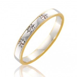 18k 2-Tone Diamond Set Wedding Ring - 0.03ct Total Diamond Weight