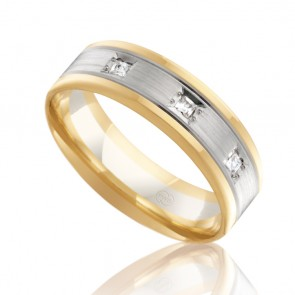 18k Mens 2-Tone Diamond Wedding Ring - Ezi Fit - 0.09ct Total Diamond Weight