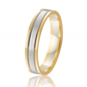 18k 2-Tone Faceted Wedding Ring