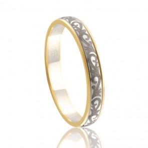 18k 2-Tone Laser Engraved Wedding Ring