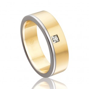 18k Two Tone Diamond Wedding Band - 0.10ct