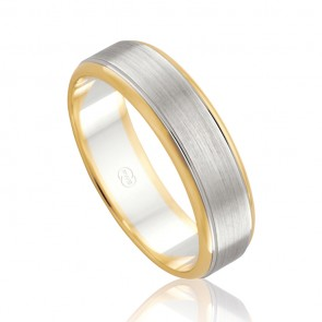 18k Two Tone Faceted Wedding Ring