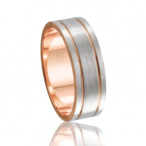 9k 2-Tone Faceted Wedding Band