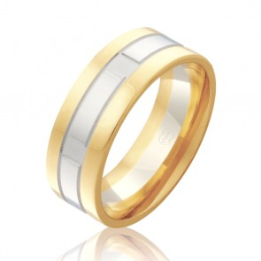 9k 2-Tone Faceted Wedding Ring
