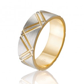 9k Mens 2-Tone Sleeved Wedding Ring - Ezi Fit