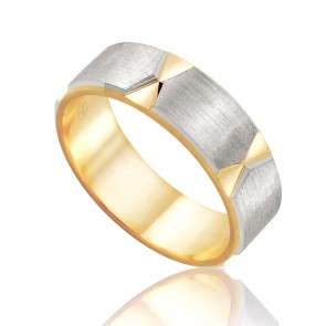 18k 2-Tone Sleeved Faceted Wedding Band