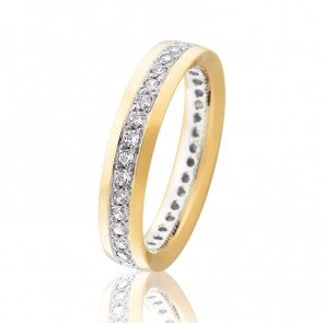 9kt Diamond Set Two Tone Orion Wedding Band - 0.78ct Total Diamond Weight