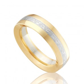 18k Mens 2-Tone Engraved Band