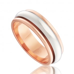 9k 2-Tone Mens Spinning Wedding Ring - Ezi Fit
