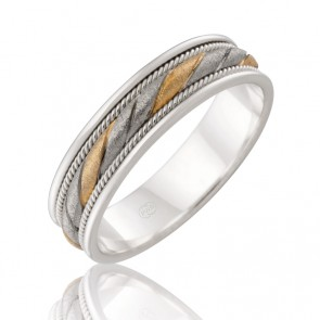 9k 2-Tone Rope Twist Wedding Ring