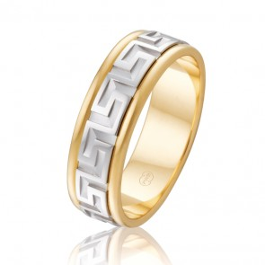 18k Men's 2-Tone Greek Key Patterned Ring - 8mm