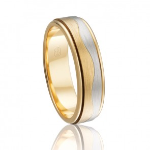 9k Mens 2-Tone Wave Wedding Band