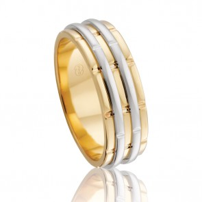 9k 2-Tone Fancy Wedding Band