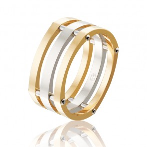9k Two Tone Square Faceted Riveted Wedding Band