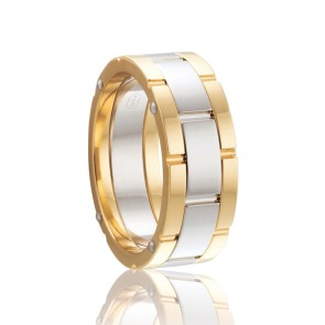 18k 2-Tone Mens Rivited Wedding Ring
