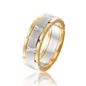 9k Mens Two Tone Riveted Wedding Band